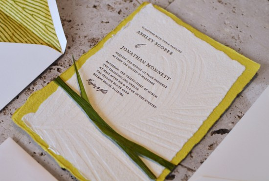Seagrass Letterpress Wedding Invitations Ten Lines Pica2 550x371 Ashley + Jonathans Seagrass Inspired Beach Wedding Invitations