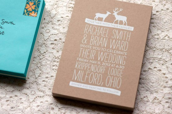 Rustic Woodland Fabric Kraft Paper Wedding Invitations 550x366 Rachael + Brians Woodland and Fabric Wedding Invitations