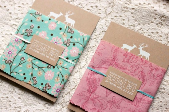 Rustic Woodland Fabric Kraft Paper Wedding Invitations2 550x366 Rachael + Brians Woodland and Fabric Wedding Invitations