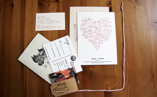 DIY Calligraphy Font Letterpress Wedding Invitations7 550x343 Nina + Johns DIY Letterpress Wedding Invitations