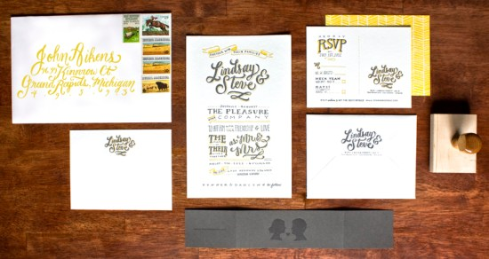 Yellow Gray Hand Lettered Wedding Invitations Molly Jacques3 550x292 Lindsay + Steves Hand Lettered Wedding Invitations