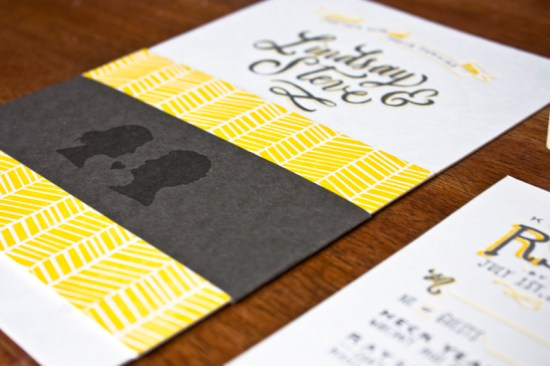 Yellow Gray Hand Lettered Wedding Invitations Molly Jacques7 550x366 Lindsay + Steves Hand Lettered Wedding Invitations