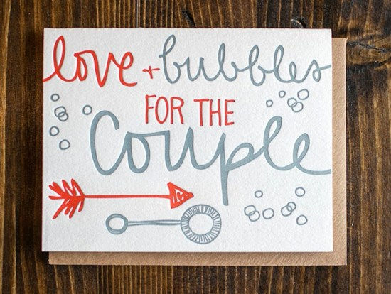 9th Letter Press Wedding Greeting Cards Bubbles 550x414 Wedding Congratulations Cards from 9th Letter Press