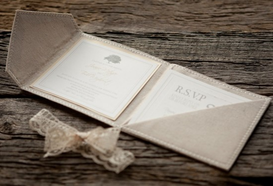 Linen Lace Wedding Invitations The Blue Envelope11 550x376 Joanie + Todds Romantic Linen and Lace Wedding Invitations
