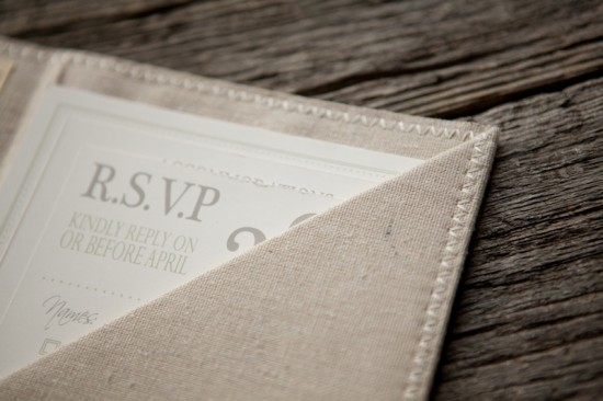 Linen Lace Wedding Invitations The Blue Envelope8 550x366 Joanie + Todds Romantic Linen and Lace Wedding Invitations