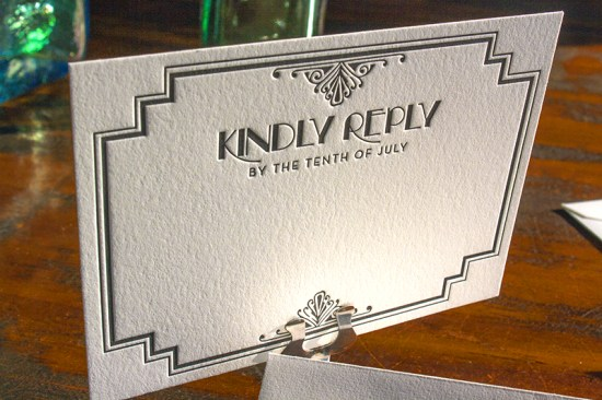 Lucky Luxe Couture Correspondence Gatsby Letterpress Wedding Invitations5 550x366 Great Gatsby Inspired Art Deco Wedding Invitations