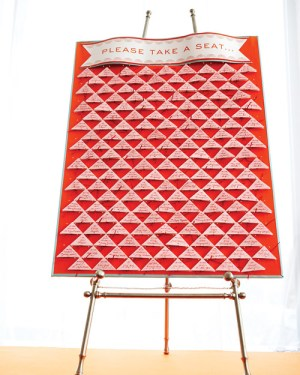 Triangles Wedding Seating Chart Cheree Berry 300x375 Wedding Stationery Inspiraton: Geometric