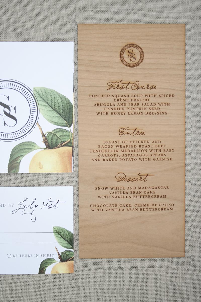 elegant and rustic wood engraved wedding invitations wood wedding invitations Wood Engraved Wedding Invitations via Oh So Beautiful Paper 6