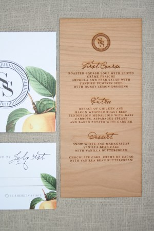 Wood Engraved Citrus Wedding Invitations Paper Airplanes3 300x450 Elegant and Rustic Wood Engraved Wedding Invitations