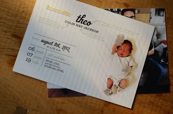 Modern Graphic Photo Birth Announcements Good on Paper4 550x364 Graphic and Modern Birth Announcements for Baby Theo
