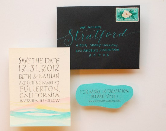 susnet final1 550x436 DIY Tutorial: Palm Springs Mod Watercolor Save the Date