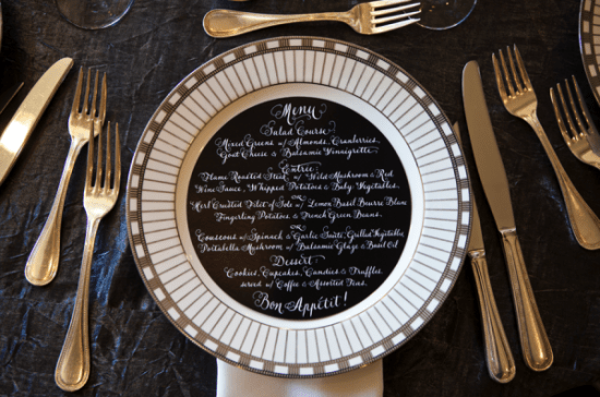 Black Wedding Menu Kristin Spencer Photography 550x364 Wedding Stationery Inspiration: White on Black