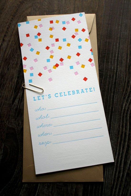 Confetti Party Invites 550x825 Stationery A – Z: General Party Invitations