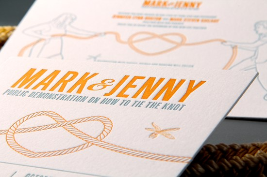 Letterpress Wedding Invitations Clutch Design4 550x366 Jenny + Marks Tie the Knot Letterpress Wedding Invitations