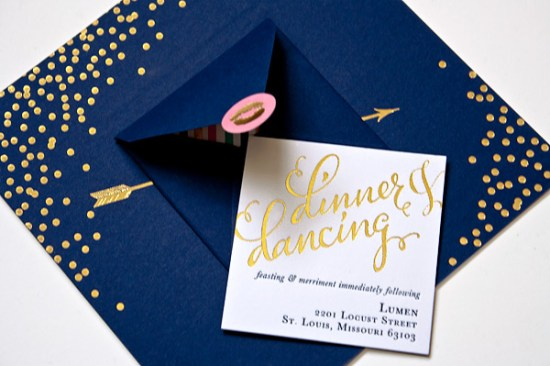 Navy Gold Foil Calligraphy Wedding Invitations Plurabelle Calligraphy Kate Allen2 550x366 Navy + Gold Foil Calligraphy Wedding Invitations