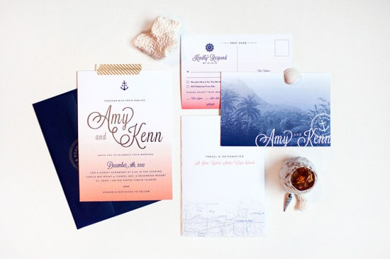 Ombre Gold Foil Nautical Wedding Invitations Carina Skrobecki Design 550x365 Amy + Kenns Ombre and Gold Foil Nautical Wedding Invitations