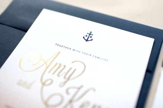 Ombre Gold Foil Nautical Wedding Invitations Carina Skrobecki Design3 550x365 Amy + Kenns Ombre and Gold Foil Nautical Wedding Invitations