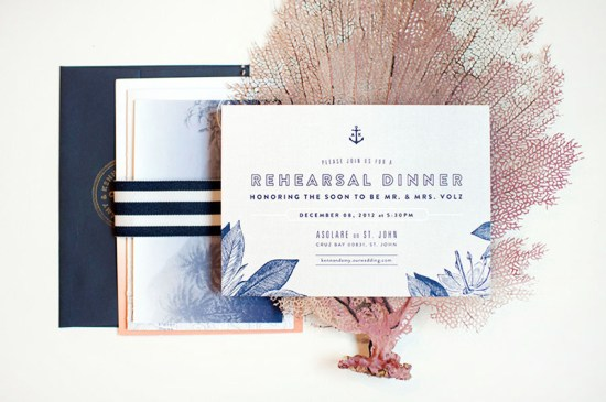 Ombre Gold Foil Nautical Wedding Invitations Carina Skrobecki Design8 550x365 Amy + Kenns Ombre and Gold Foil Nautical Wedding Invitations