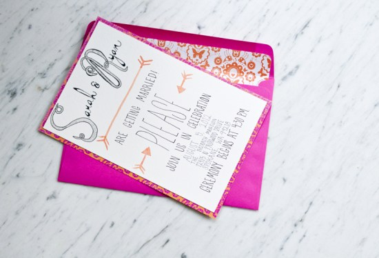 Pink Orange Watercolor Wedding Invitations Love Citron2 550x374 Sarah + Ryans Bright Hand Lettered Wedding Invitations