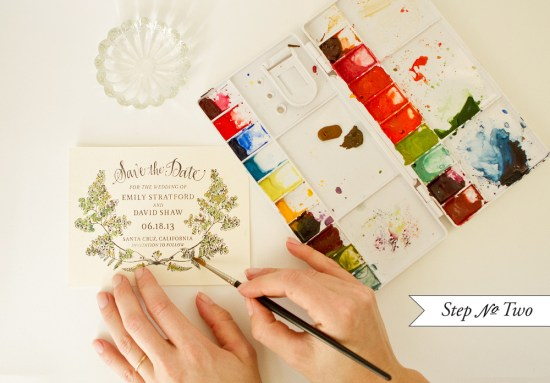 fern 2 550x383 DIY Tutorial: Botanical + Watercolor Save the Dates