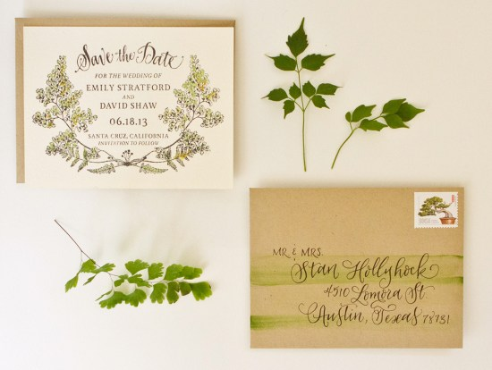 fern final 550x414 DIY Tutorial: Botanical + Watercolor Save the Dates