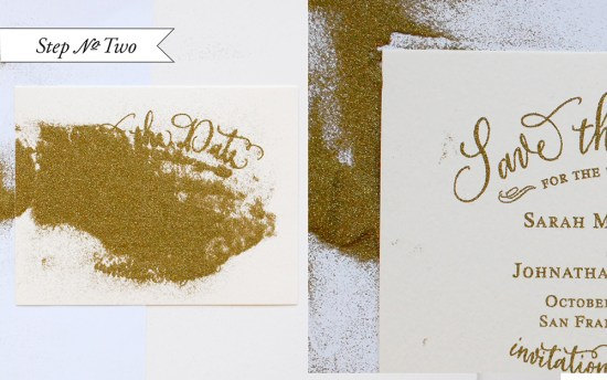 gold 2 550x344 DIY Tutorial: Gold Embossed Save the Dates