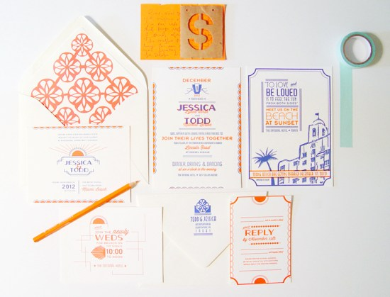 Art Deco Miami Letterpress Wedding Invitations 42 Pressed 550x419 Jessica + Todds Art Deco Letterpress Wedding Invitations
