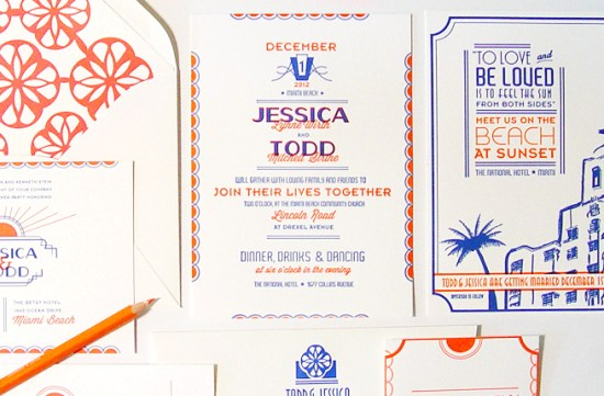 Art Deco Miami Letterpress Wedding Invitations 42 Pressed4 550x361 Jessica + Todds Art Deco Letterpress Wedding Invitations