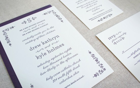 Fall Letterpress Wedding Invitations Arbor Corner Studio2 550x345 Drew + Kyles Floral Fall Wedding Invitations