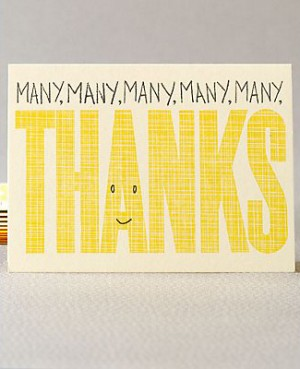 Hello Lucky Many Thanks 300x369 Stationery A – Z: Thank You Cards