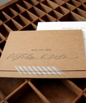 Kraft Paper Calligraphy Wedding Invitation Blackbird Letterpress 300x361 Leah + Adams Calligraphy and Kraft Paper Wedding Invitations