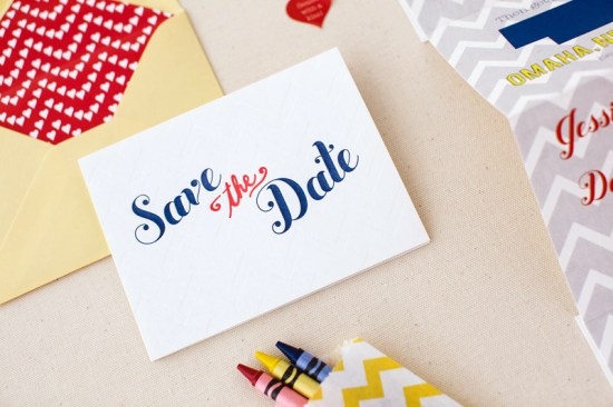 Modern Chevron Save the Date Inclosed Studio2 550x366 Jessica + Dans Modern Chevron Stripe Save the Dates