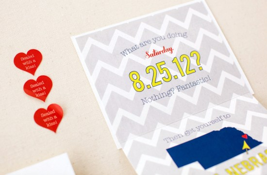 Modern Chevron Save the Date Inclosed Studio4 550x360 Jessica + Dans Modern Chevron Stripe Save the Dates