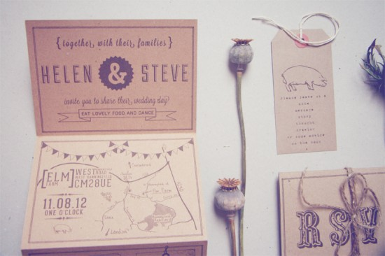 Recycled Country Wedding Invitations Bridges and Eggs3 550x366 Helen + Steves Country Inspired Kraft Paper Wedding Invitations