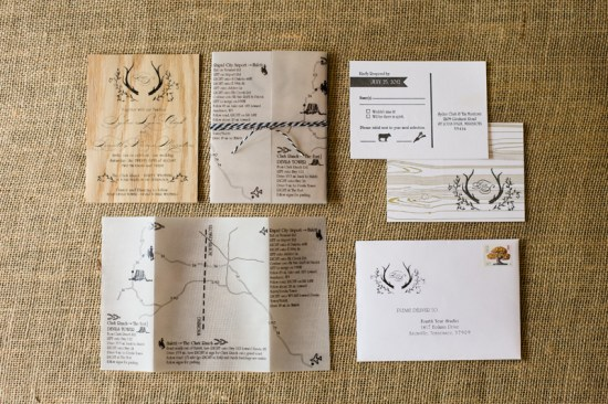Rustic Wooden Wedding Invitations and Map Fourth Year Studio 5 Rings Photography 550x366 Sydney + Tims Rustic Wood Wedding Invitations