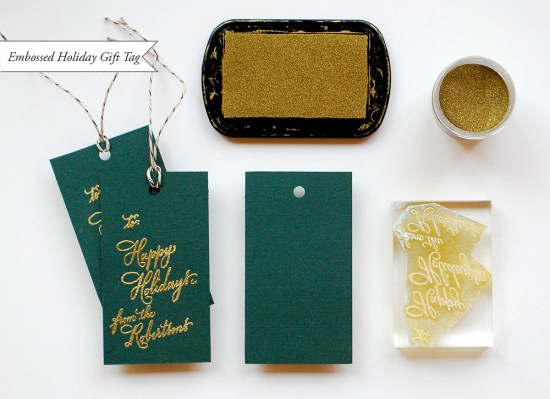 embossed tag 550x399 DIY Tutorial: Festive Wrapping with Holiday Gift Tags