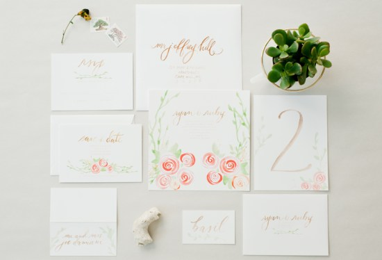 Garden Calligraphed Wedding Invitations Hazel Wonderland 550x374 Calligraphy Wedding Invitation Collection from Hazel Wonderland