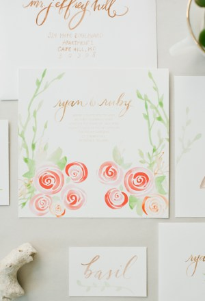 Garden Calligraphed Wedding Invitations Hazel Wonderland2 300x440 Calligraphy Wedding Invitation Collection from Hazel Wonderland