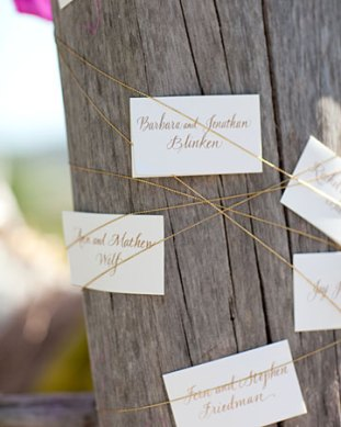 Gold Escort Cards Michele Papineau Hello Lucky Jesse Leake 300x375 Wedding Stationery Inspiration: Silver + Gold