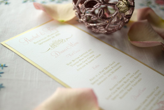 Gold Wedding Menu Pink Orchid Invitations Cease Fire Studios Wedding Stationery Inspiration: Silver + Gold