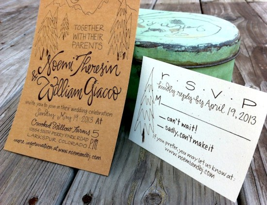 Hand Lettered Kraft Paper Wedding Invitations Grey Snail Press7 550x423 Noemi + BJs Hand Lettered Kraft Paper Wedding Invitations