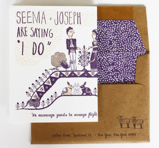 LOUIE Winner Invitation Suite Mr Boddington Studio31 550x514 Seema + Josephs Whimsical Illustrated Wedding Invitations