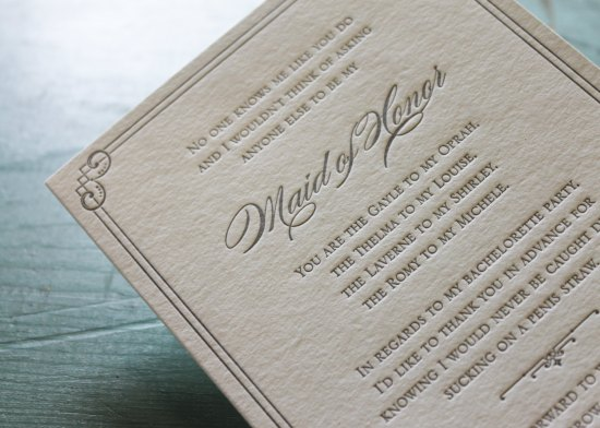 Maid of Honor trash talk Letterpress Card 550x392 Stationery A – Z: Bridesmaid and Maid of Honor Cards