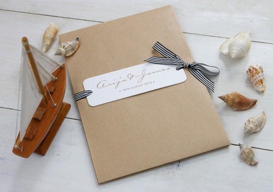 Modern Chevron Stripe Letterpress Wedding Invitation Meticulous Ink2 550x387 James + Arijas Modern Seaside Wedding Invitations