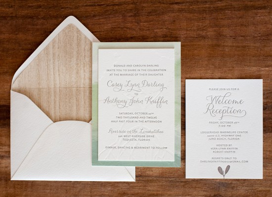 Modern Watercolor Letterpress Wedding Invitations Make Merry2 550x398 Anthony + Caseys Nature Inspired Watercolor Wedding Invitations