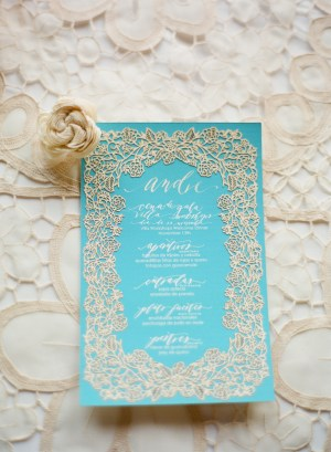 Neither Snow Lasercut Wedding Menus Jose Villa Photography3 300x409 Calligraphy + Laser Cut Menus from Neither Snow