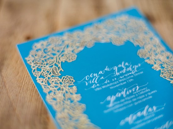 Neither Snow Lasercut Wedding Menus Jose Villa Photography6 550x411 Calligraphy + Laser Cut Menus from Neither Snow