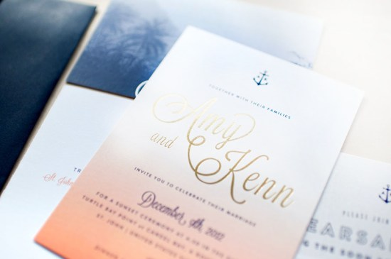 Ombre Gold Foil Nautical Wedding Invitations Carina Skrobecki Design5 550x365 Best of 2012: Metallic Wedding Invitations