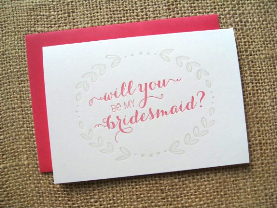Will You Be My Bridesmaid set of four 550x412 Stationery A – Z: Bridesmaid and Maid of Honor Cards