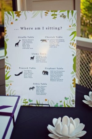 Animal Seating Chart Brushfire Photography 300x452 Wedding Stationery Inspiration: Animal Motifs